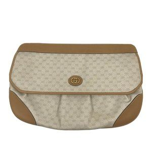 GUCCI Vintage Beige All Over Logo Clutch Bag